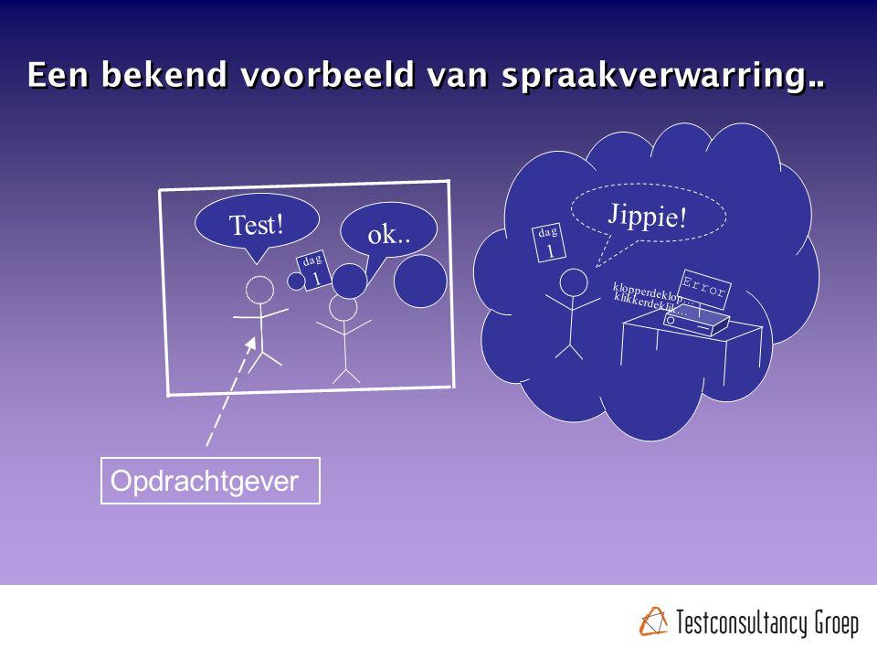 Test. ok.. dag 1 Een bekend voorbeeld van spraakverwarring..