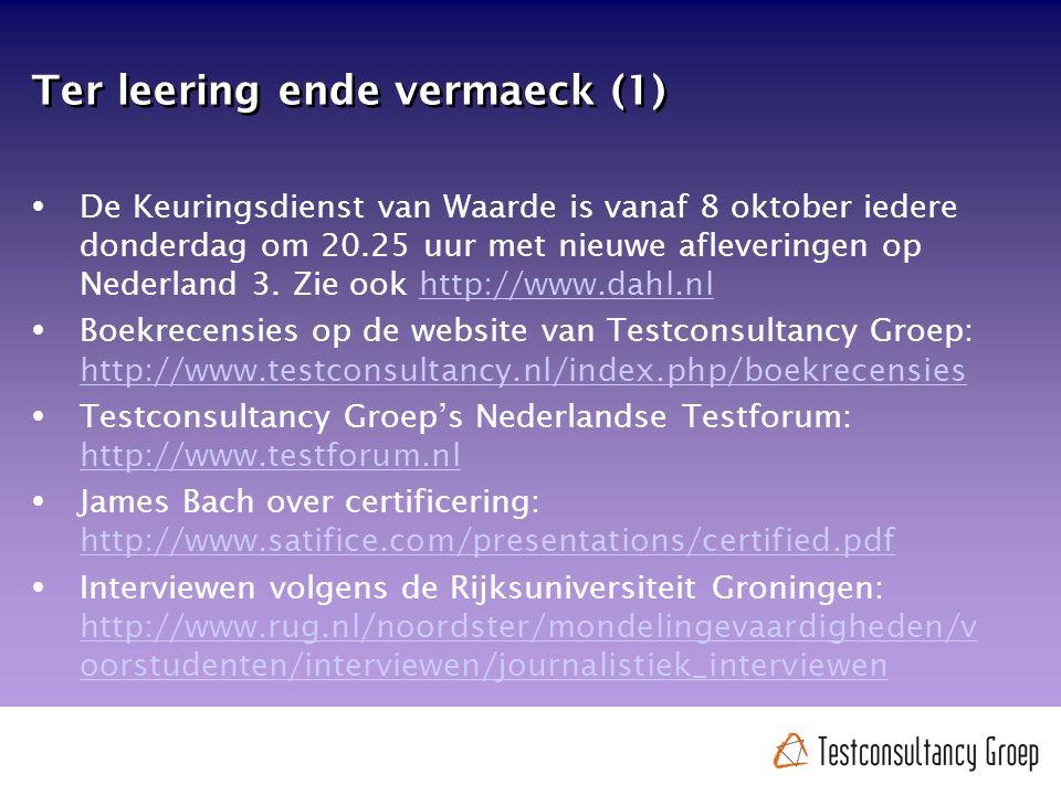 Ter leering ende vermaeck (1)  De Keuringsdienst van Waarde is vanaf 8 oktober iedere donderdag om 20.25 uur met nieuwe afleveringen op Nederland 3.