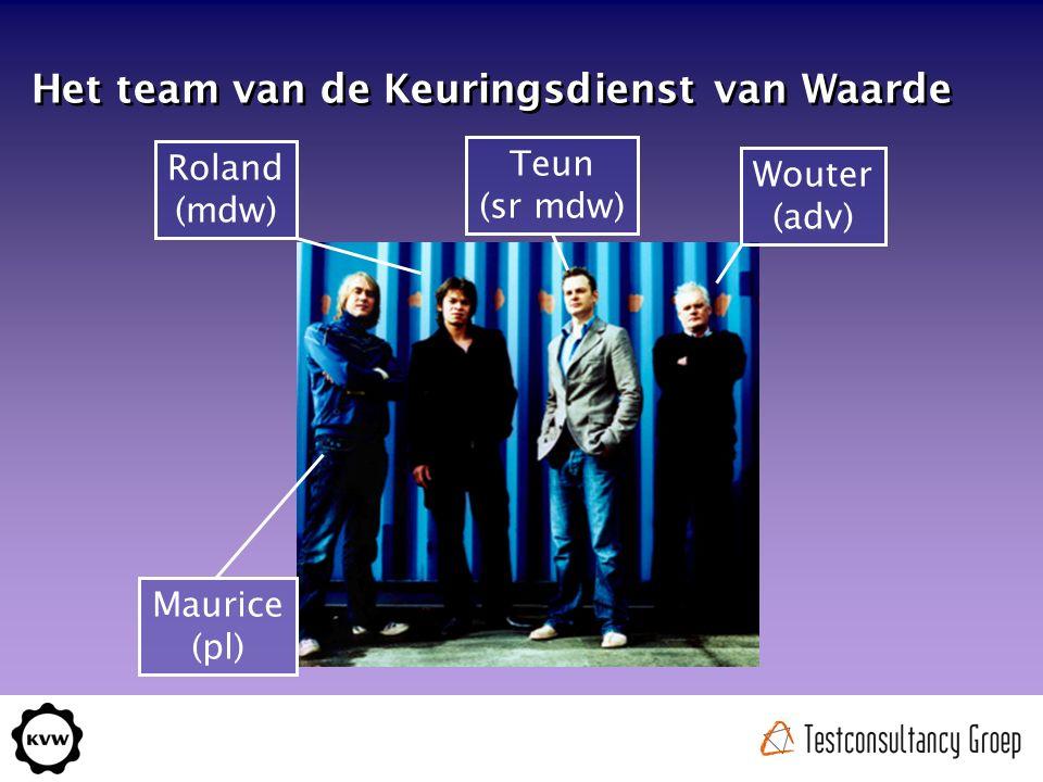 Teun (sr mdw) Roland (mdw) Maurice (pl) Wouter (adv) Het team van de Keuringsdienst van Waarde