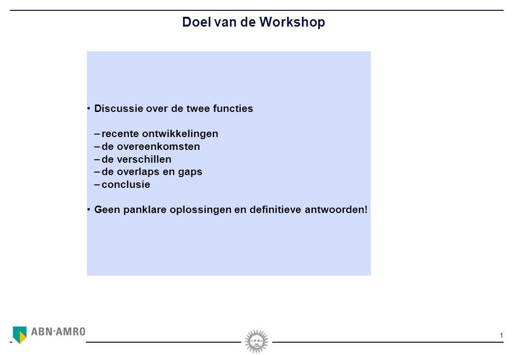 1 Doel van de Workshop Discussie over de twee functies –recente ontwikkelingen –de overeenkomsten –de verschillen –de overlaps en gaps –conclusie Geen panklare oplossingen en definitieve antwoorden!