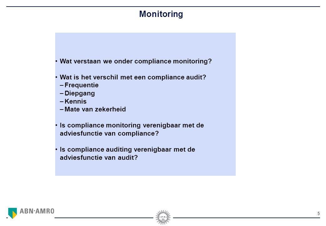 5 Monitoring Wat verstaan we onder compliance monitoring.