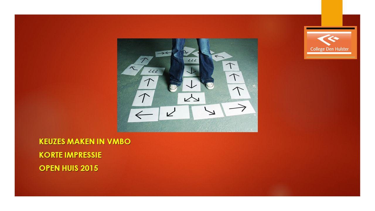 KEUZES MAKEN IN VMBO KORTE IMPRESSIE OPEN HUIS 2015