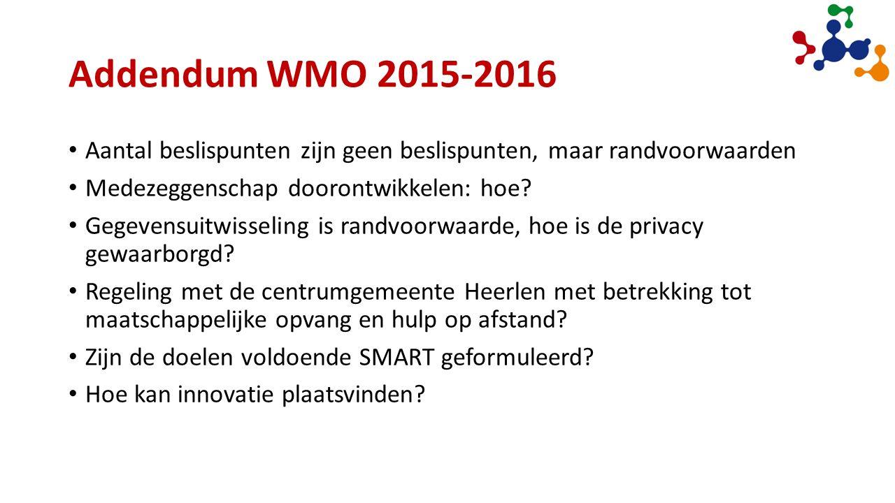 Addendum WMO 2015-2016 Aantal beslispunten zijn geen beslispunten, maar randvoorwaarden Medezeggenschap doorontwikkelen: hoe.