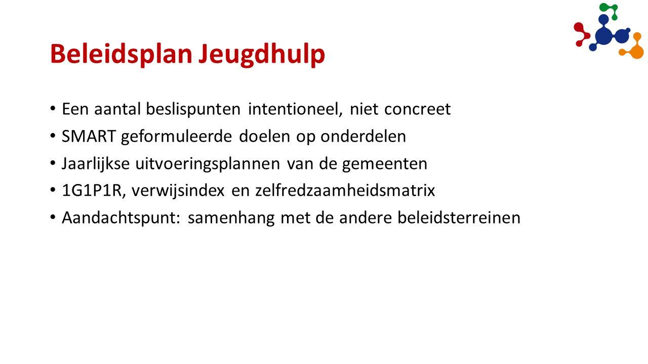 Beleidsplan Jeugdhulp Een aantal beslispunten intentioneel, niet concreet SMART geformuleerde doelen op onderdelen Jaarlijkse uitvoeringsplannen van de gemeenten 1G1P1R, verwijsindex en zelfredzaamheidsmatrix Aandachtspunt: samenhang met de andere beleidsterreinen