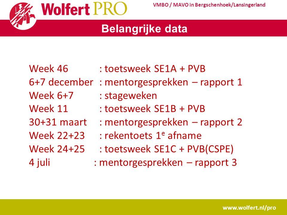 www.wolfert.nl/pro VMBO / MAVO in Bergschenhoek/Lansingerland Belangrijke data Week 46: toetsweek SE1A + PVB 6+7 december: mentorgesprekken – rapport