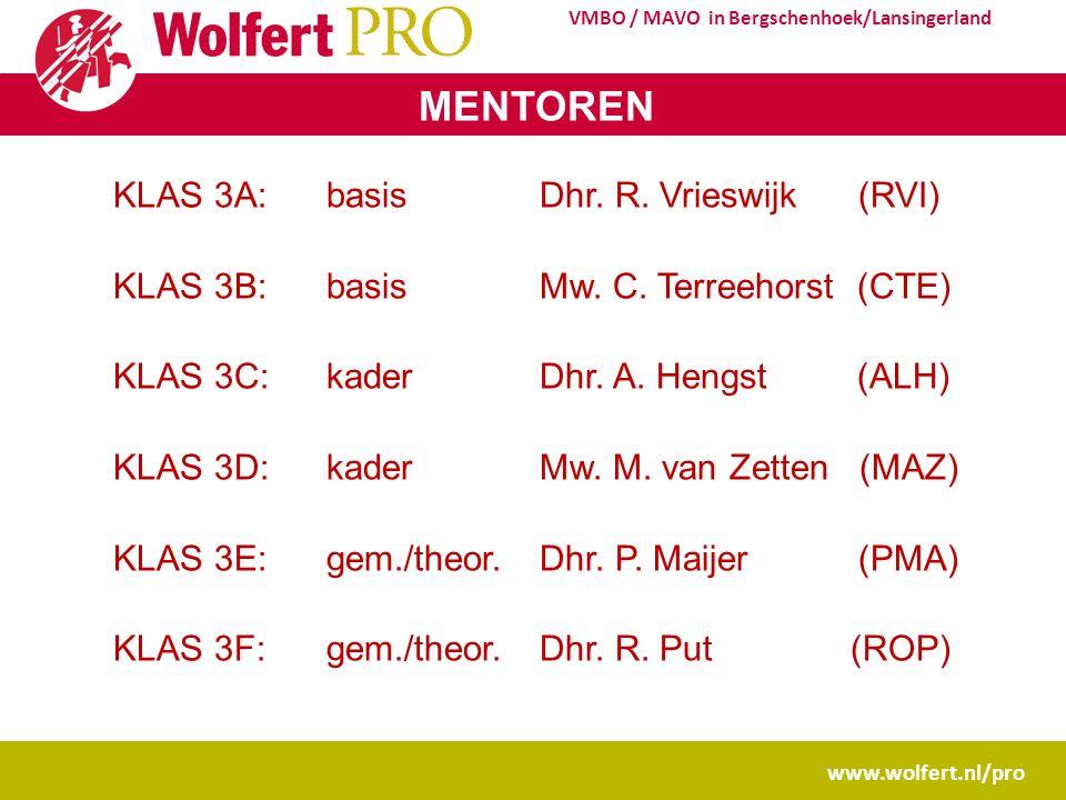 www.wolfert.nl/pro VMBO / MAVO in Bergschenhoek/Lansingerland MENTOREN KLAS 3A: basisDhr. R. Vrieswijk (RVI) KLAS 3B: basisMw. C. Terreehorst (CTE) KL