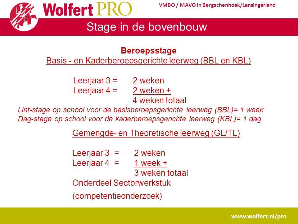 Stage in de bovenbouw www.wolfert.nl/pro VMBO / MAVO in Bergschenhoek/Lansingerland Beroepsstage Basis - en Kaderberoepsgerichte leerweg (BBL en KBL)