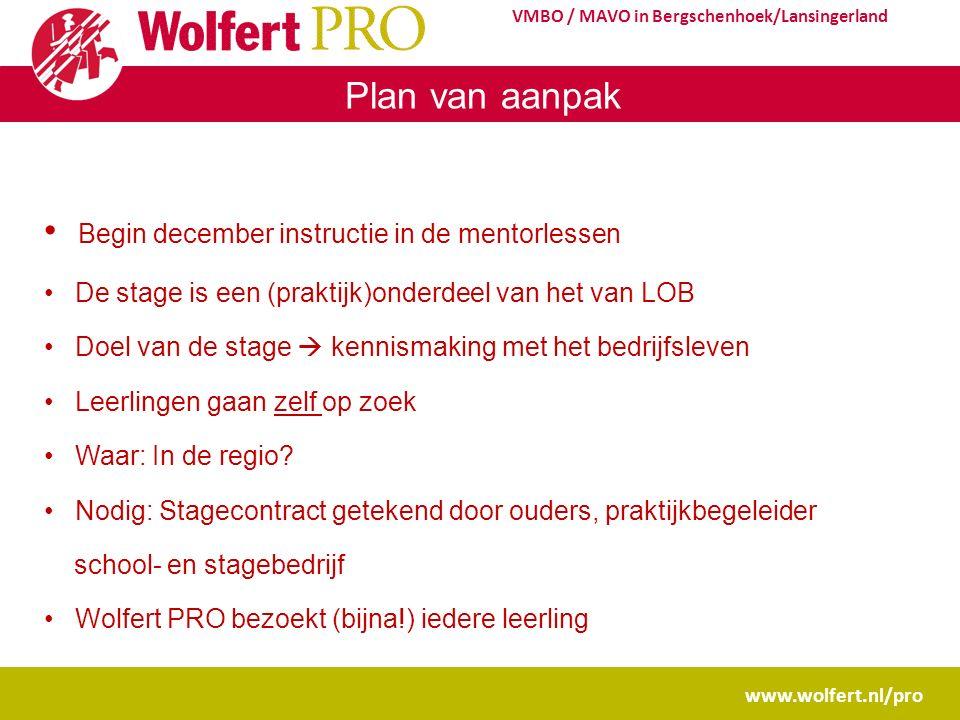 www.wolfert.nl/pro VMBO / MAVO in Bergschenhoek/Lansingerland Plan van aanpak Begin december instructie in de mentorlessen De stage is een (praktijk)o