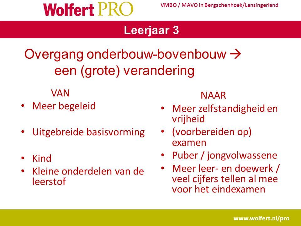 www.wolfert.nl/pro VMBO / MAVO in Bergschenhoek/Lansingerland Leerjaar 3 Overgang onderbouw-bovenbouw  een (grote) verandering VAN Meer begeleid Uitg