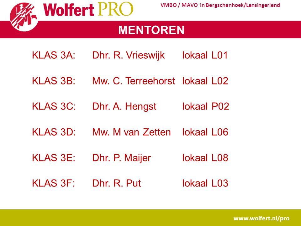 www.wolfert.nl/pro VMBO / MAVO in Bergschenhoek/Lansingerland MENTOREN KLAS 3A: Dhr. R. Vrieswijklokaal L01 KLAS 3B: Mw. C. Terreehorstlokaal L02 KLAS