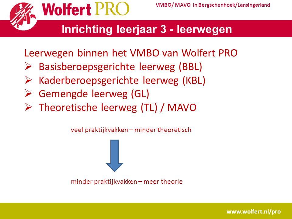 www.wolfert.nl/pro VMBO/ MAVO in Bergschenhoek/Lansingerland Inrichting leerjaar 3 - leerwegen Leerwegen binnen het VMBO van Wolfert PRO  Basisberoep