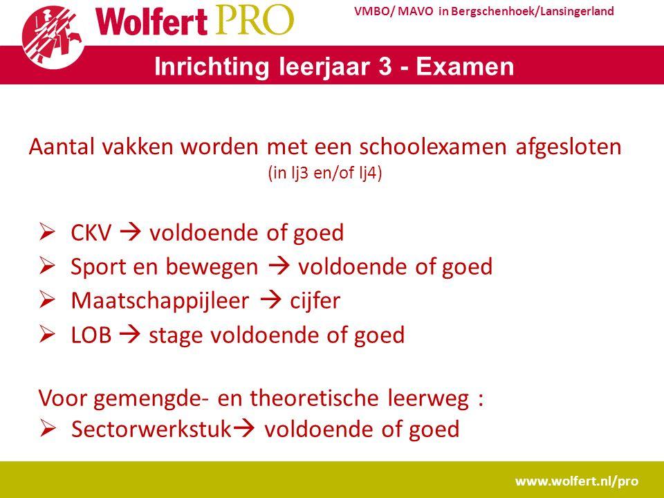 www.wolfert.nl/pro VMBO/ MAVO in Bergschenhoek/Lansingerland Inrichting leerjaar 3 - Examen Aantal vakken worden met een schoolexamen afgesloten (in l