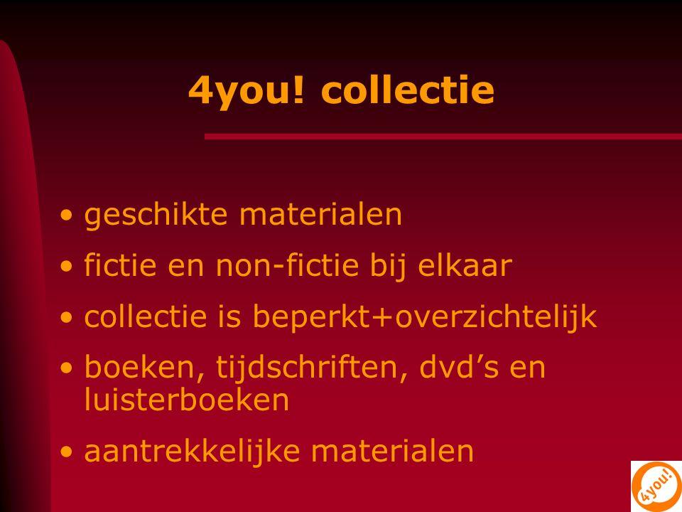 geschikte materialen fictie en non-fictie bij elkaar collectie is beperkt+overzichtelijk boeken, tijdschriften, dvd's en luisterboeken aantrekkelijke