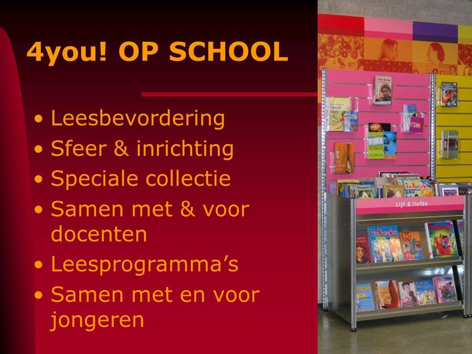 4you! OP SCHOOL Leesbevordering Sfeer & inrichting Speciale collectie Samen met & voor docenten Leesprogramma's Samen met en voor jongeren