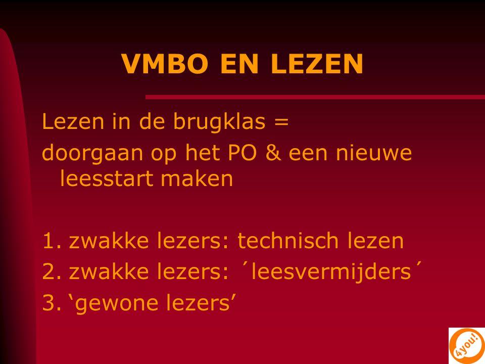 VMBO EN LEZEN Lezen in de brugklas = doorgaan op het PO & een nieuwe leesstart maken 1.zwakke lezers: technisch lezen 2.zwakke lezers: ´leesvermijders