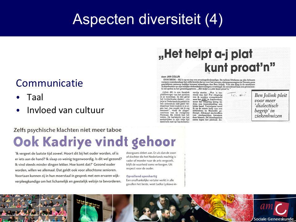 Communicatie Taal Invloed van cultuur Sociale Geneeskunde Aspecten diversiteit (4)