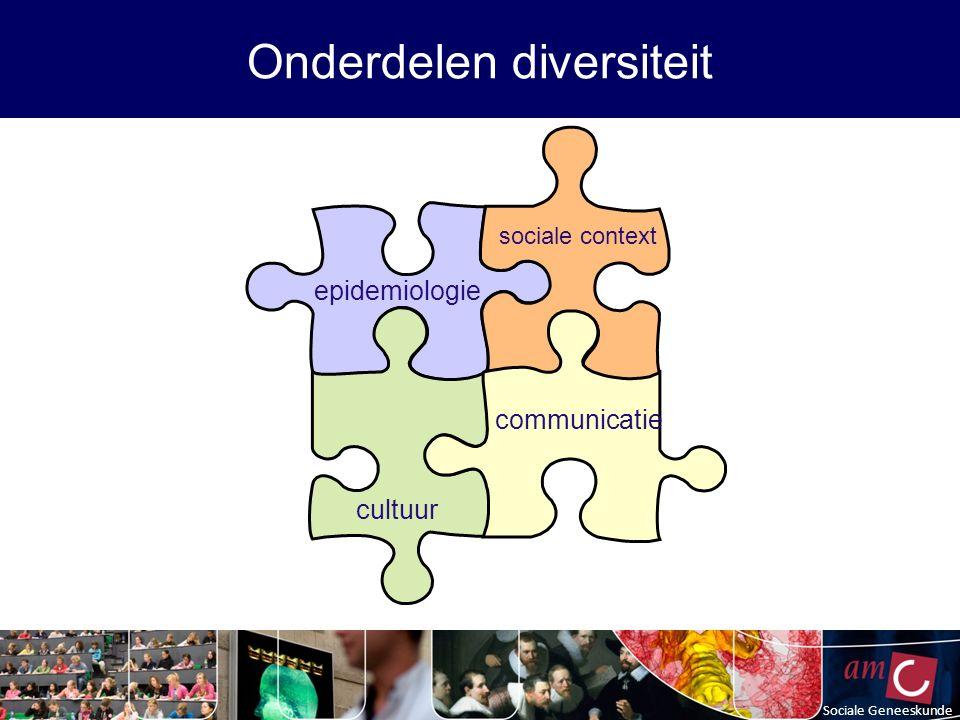 Sociale Geneeskunde Onderdelen diversiteit epidemiologie sociale context cultuur communicatie