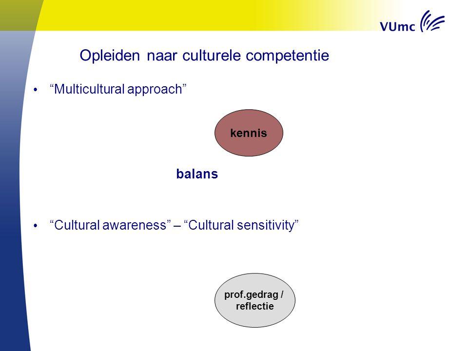 Multicultural approach balans Cultural awareness – Cultural sensitivity kennis prof.gedrag / reflectie Opleiden naar culturele competentie