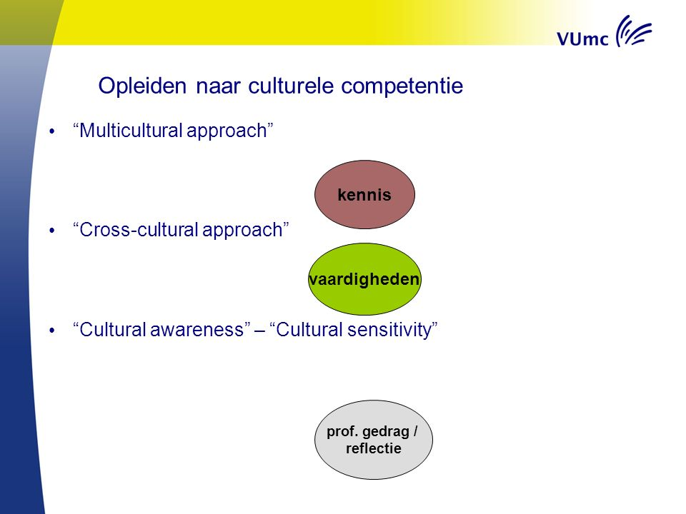 """Multicultural approach"" ""Cross-cultural approach"" ""Cultural awareness"" – ""Cultural sensitivity"" kennis vaardigheden prof. gedrag / reflectie Opleiden"