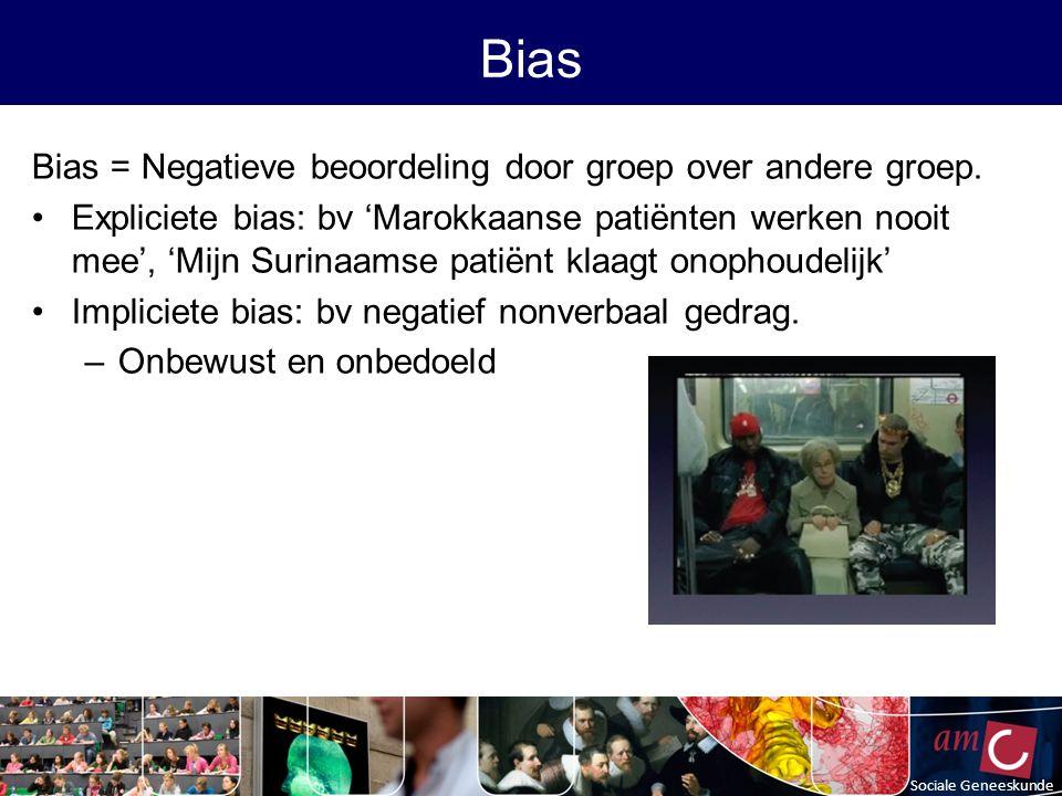 Bias = Negatieve beoordeling door groep over andere groep.
