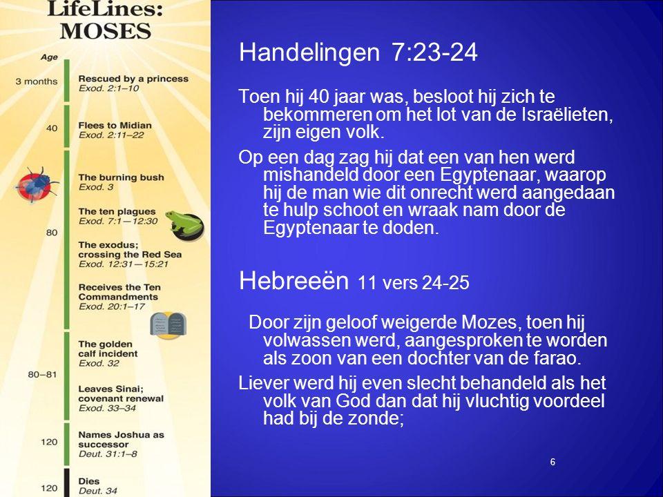 6 Handelingen 7:23-24 Toen hij 40 jaar was, besloot hij zich te bekommeren om het lot van de Israëlieten, zijn eigen volk.