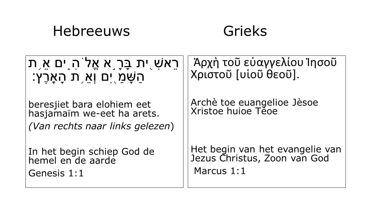 HebreeuwsGrieks רֵאשִׁ ֖ ית בָּרָ ֣ א אֱלֹהִ ֑ ים אֵ ֥ ת הַשָּׁמַ ֖ יִם וְאֵ ֥ ת הָאָֽרֶץ׃ beresjiet bara elohiem eet hasjamaïm we-eet ha arets.