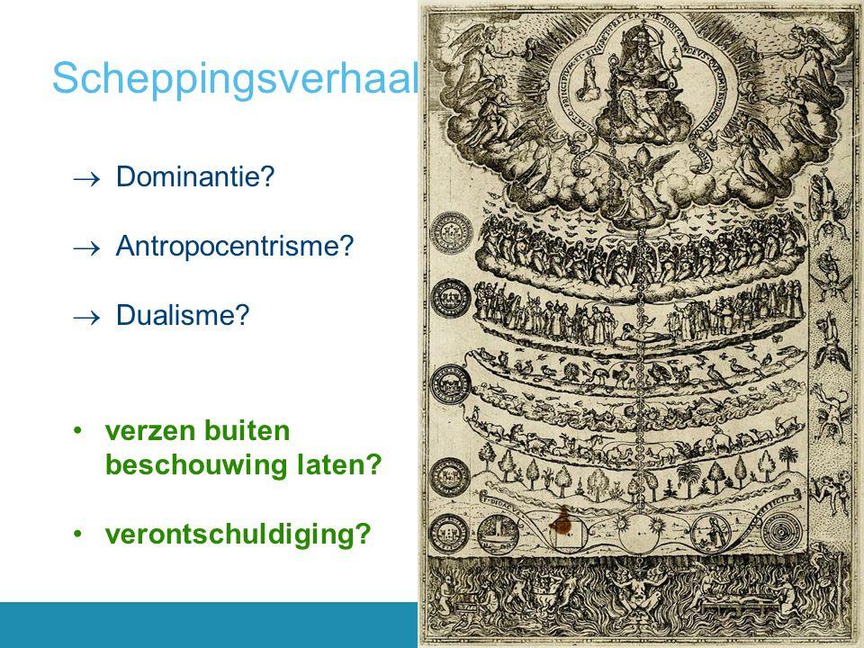 Scheppingsverhaal (Gen 1-3)  Dominantie. Antropocentrisme.