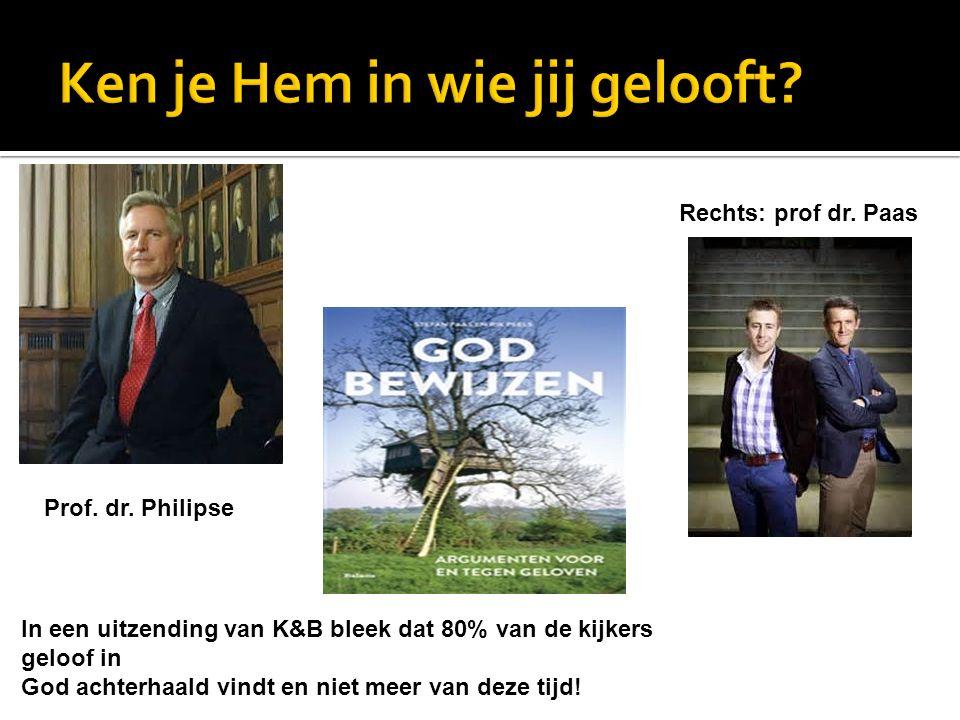 In een uitzending van K&B bleek dat 80% van de kijkers geloof in God achterhaald vindt en niet meer van deze tijd! Prof. dr. Philipse Rechts: prof dr.