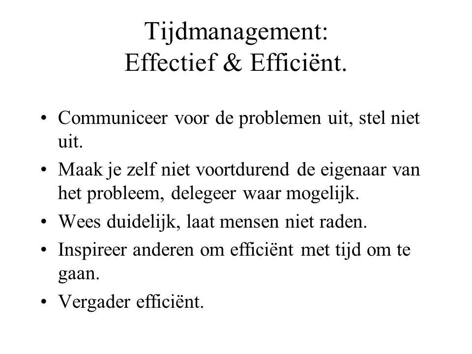 Tijdmanagement: Effectief & Efficiënt. Communiceer voor de problemen uit, stel niet uit. Maak je zelf niet voortdurend de eigenaar van het probleem, d