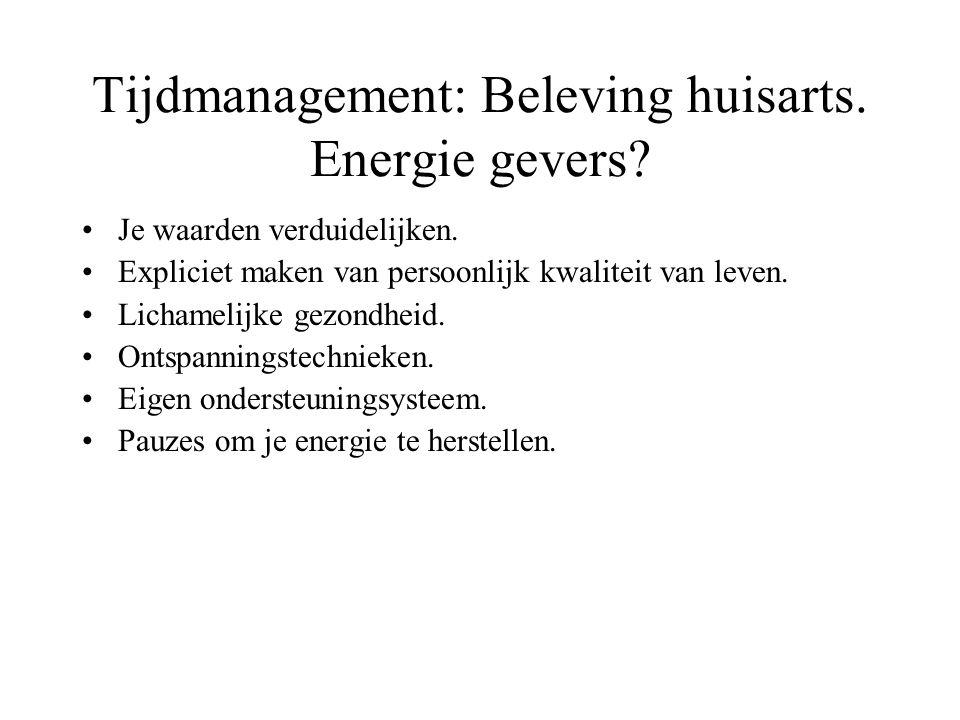 Tijdmanagement: Beleving huisarts. Energie gevers? Je waarden verduidelijken. Expliciet maken van persoonlijk kwaliteit van leven. Lichamelijke gezond