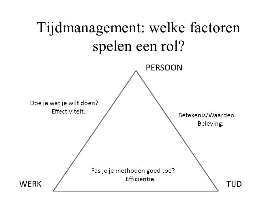 Tijdmanagement: welke factoren spelen een rol? TIJDWERK PERSOON Doe je wat je wilt doen? Effectiviteit. Betekenis/Waarden. Beleving. Pas je je methode