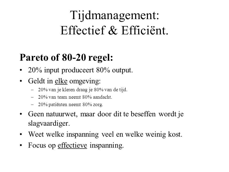 Tijdmanagement: Effectief & Efficiënt. Pareto of 80-20 regel: 20% input produceert 80% output. Geldt in elke omgeving: –20% van je kleren draag je 80%