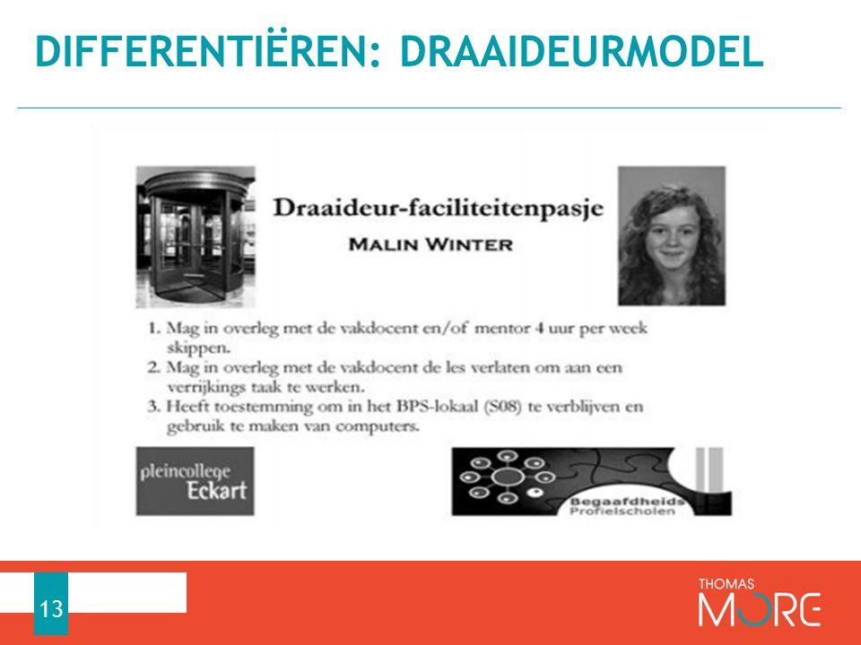 DIFFERENTIËREN: DRAAIDEURMODEL 13