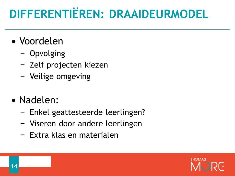 Voordelen − Opvolging − Zelf projecten kiezen − Veilige omgeving Nadelen: − Enkel geattesteerde leerlingen.