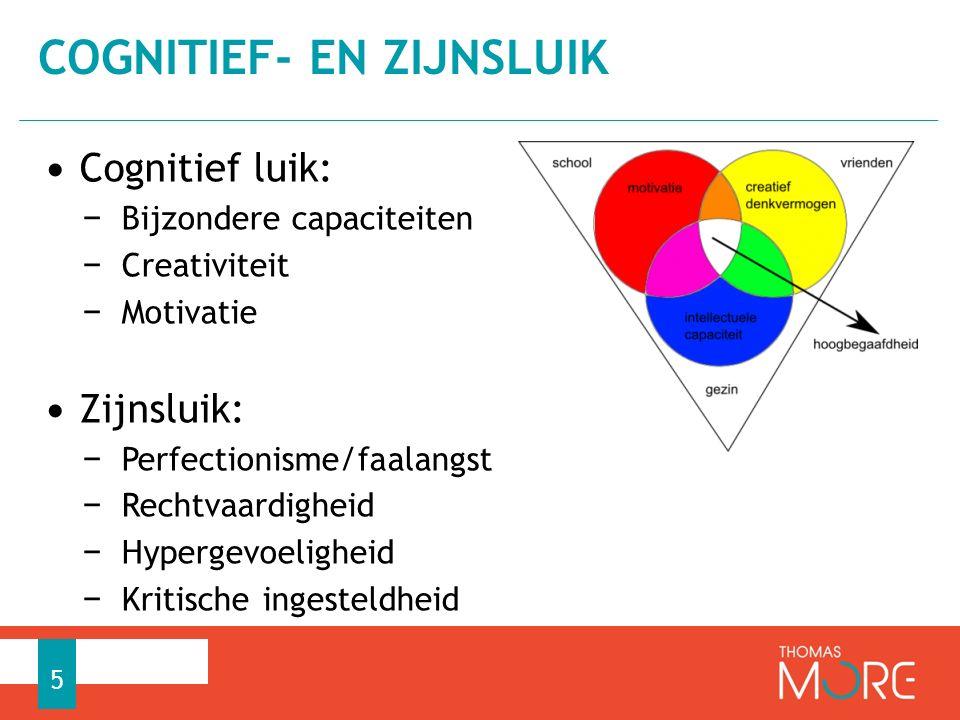 Cognitief luik: − Bijzondere capaciteiten − Creativiteit − Motivatie Zijnsluik: − Perfectionisme/faalangst − Rechtvaardigheid − Hypergevoeligheid − Kritische ingesteldheid COGNITIEF- EN ZIJNSLUIK 5
