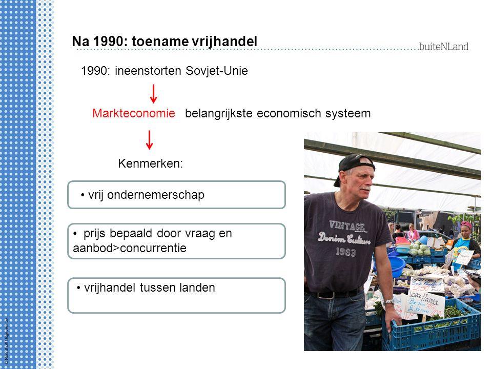 Na 1990: toename vrijhandel 1990: ineenstorten Sovjet-Unie belangrijkste economisch systeem Kenmerken: vrij ondernemerschap prijs bepaald door vraag en aanbod>concurrentie vrijhandel tussen landen Markteconomie