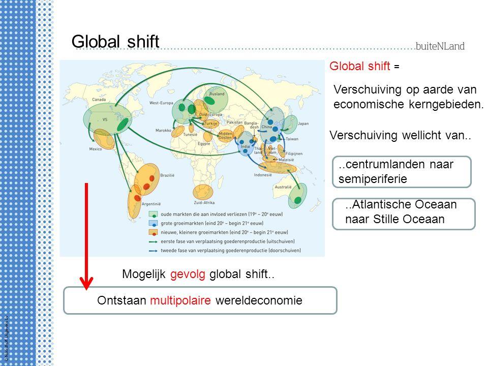 Global shift Global shift = Verschuiving op aarde van economische kerngebieden.