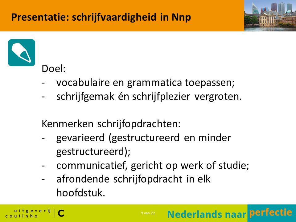 9 van 22 Presentatie: schrijfvaardigheid in Nnp Doel: -vocabulaire en grammatica toepassen; -schrijfgemak én schrijfplezier vergroten.