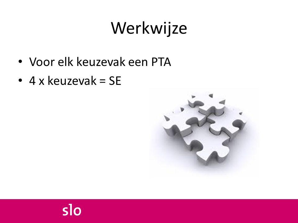 Werkwijze Voor elk keuzevak een PTA 4 x keuzevak = SE