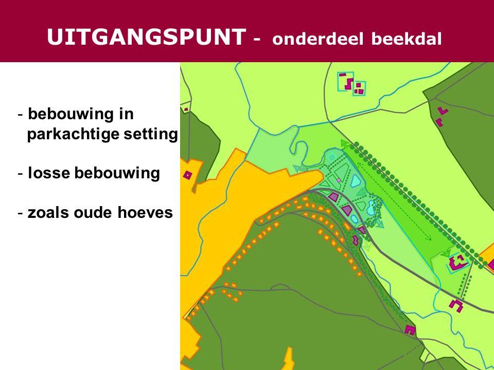UITGANGSPUNT - onderdeel beekdal - bebouwing in parkachtige setting - losse bebouwing - zoals oude hoeves
