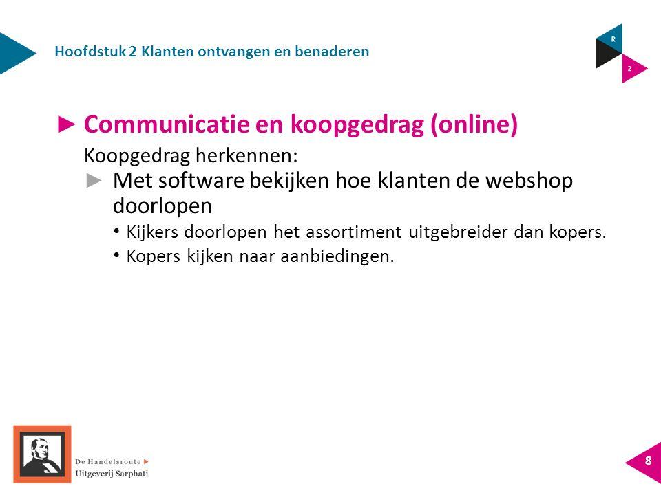 Hoofdstuk 2 Klanten ontvangen en benaderen 8 ► Communicatie en koopgedrag (online) Koopgedrag herkennen: ► Met software bekijken hoe klanten de websho