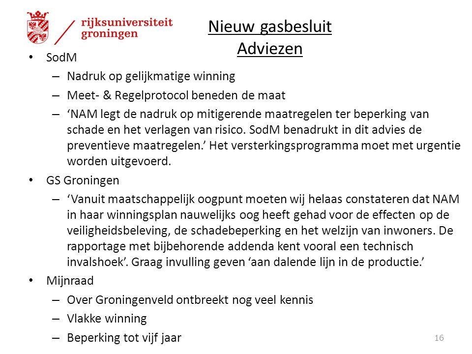 Nieuw gasbesluit Adviezen SodM – Nadruk op gelijkmatige winning – Meet- & Regelprotocol beneden de maat – 'NAM legt de nadruk op mitigerende maatregelen ter beperking van schade en het verlagen van risico.