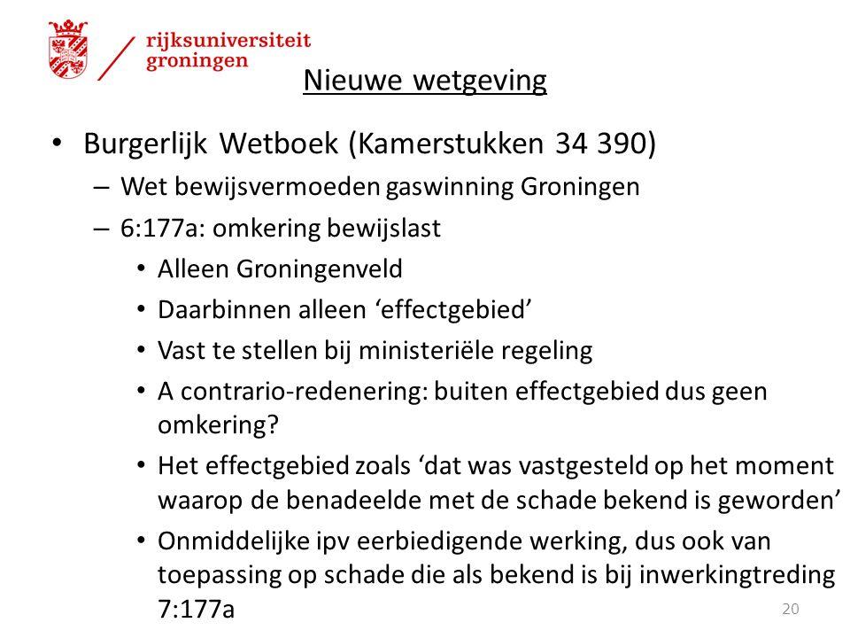 Nieuwe wetgeving Burgerlijk Wetboek (Kamerstukken 34 390) – Wet bewijsvermoeden gaswinning Groningen – 6:177a: omkering bewijslast Alleen Groningenvel