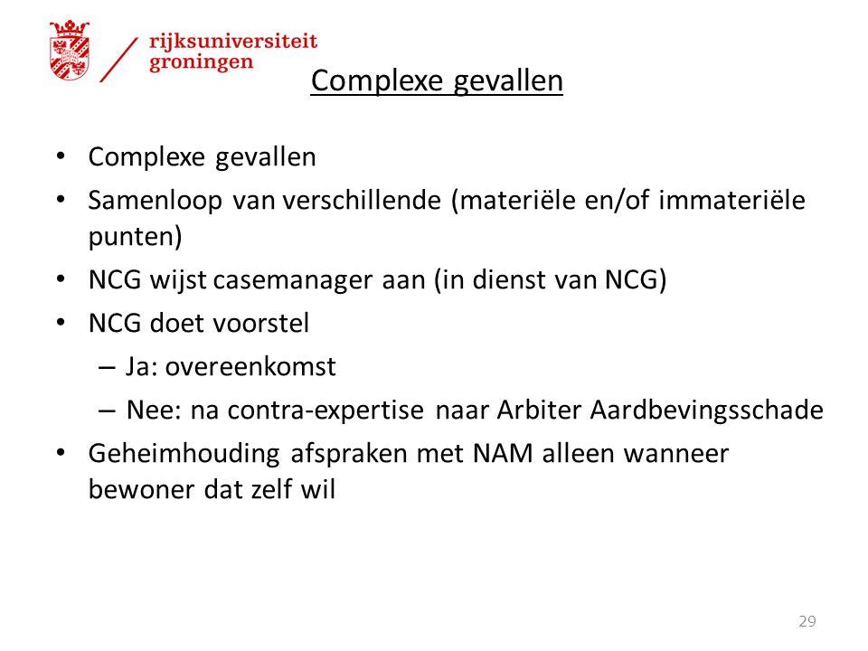 Complexe gevallen Samenloop van verschillende (materiële en/of immateriële punten) NCG wijst casemanager aan (in dienst van NCG) NCG doet voorstel – J