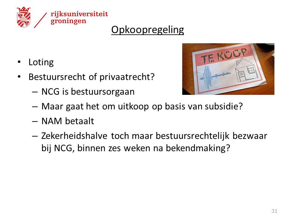 Opkoopregeling Loting Bestuursrecht of privaatrecht.
