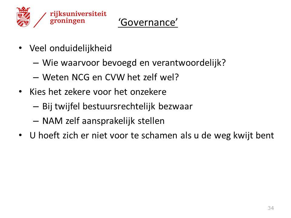 'Governance' Veel onduidelijkheid – Wie waarvoor bevoegd en verantwoordelijk? – Weten NCG en CVW het zelf wel? Kies het zekere voor het onzekere – Bij