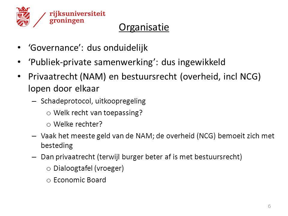 Organisatie 'Governance': dus onduidelijk 'Publiek-private samenwerking': dus ingewikkeld Privaatrecht (NAM) en bestuursrecht (overheid, incl NCG) lopen door elkaar – Schadeprotocol, uitkoopregeling o Welk recht van toepassing.