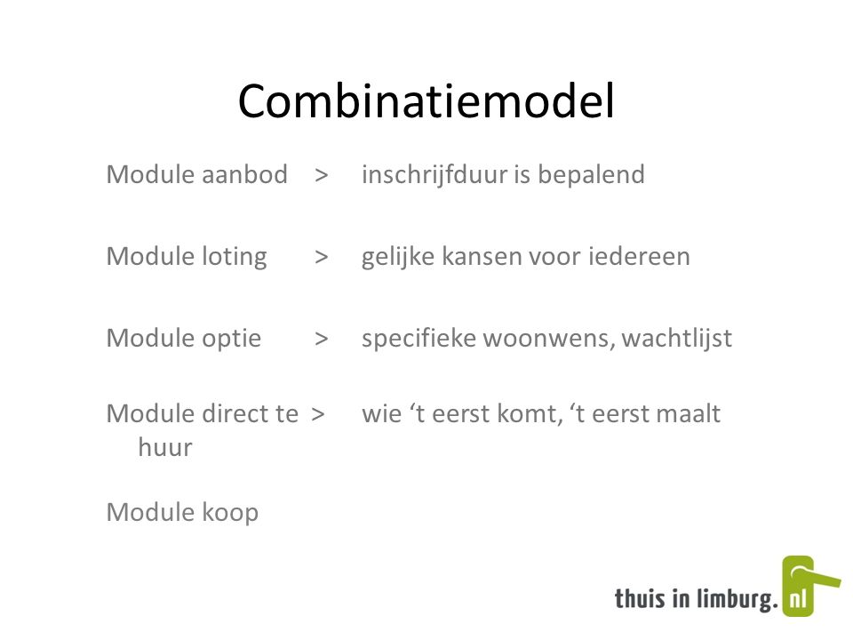 Combinatiemodel Module aanbod > inschrijfduur is bepalend Module loting >gelijke kansen voor iedereen Module optie >specifieke woonwens, wachtlijst Module direct te >wie 't eerst komt, 't eerst maalt huur Module koop