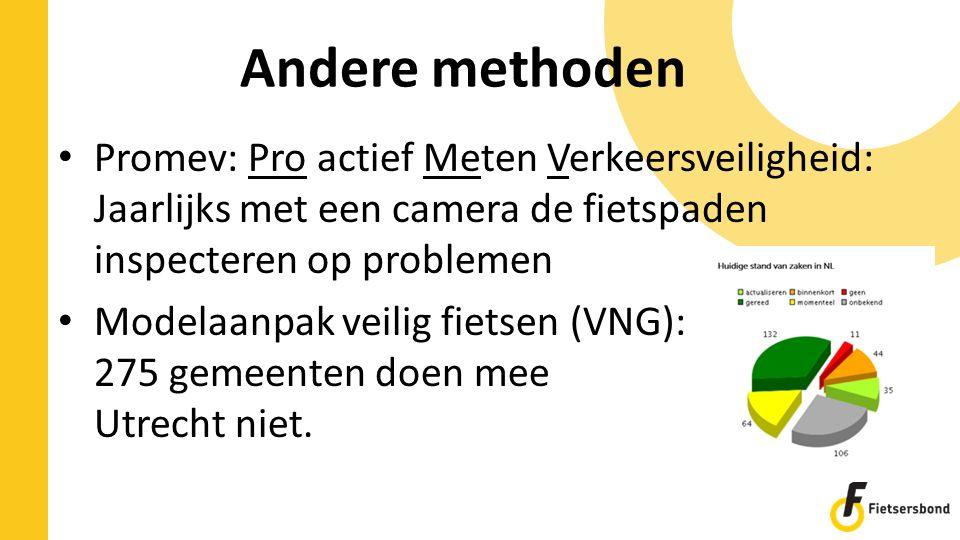 Andere methoden Promev: Pro actief Meten Verkeersveiligheid: Jaarlijks met een camera de fietspaden inspecteren op problemen Modelaanpak veilig fietsen (VNG): 275 gemeenten doen mee Utrecht niet.