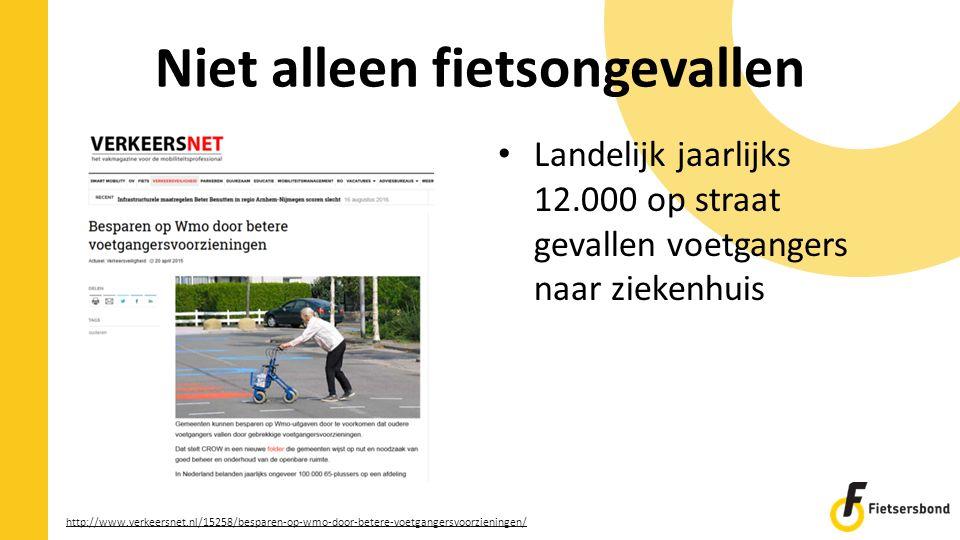 Niet alleen fietsongevallen Landelijk jaarlijks 12.000 op straat gevallen voetgangers naar ziekenhuis http://www.verkeersnet.nl/15258/besparen-op-wmo-door-betere-voetgangersvoorzieningen/